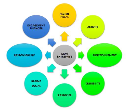 criteres-de-choix-entreprise creation entreprise guide : regime fiscal, activité, fonctionnement, crédibilité, s'associer, régime social, responsabilité, engagement financier